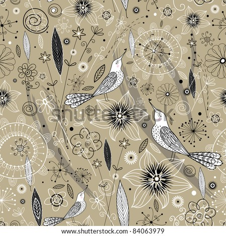 floral design with birds - stock vector