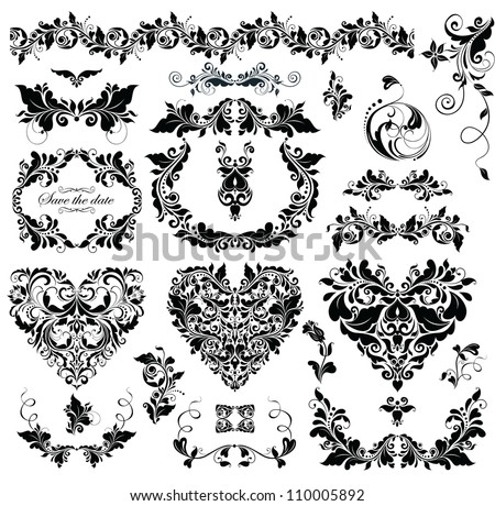 Floral design with heart shapes (black and white) - stock vector