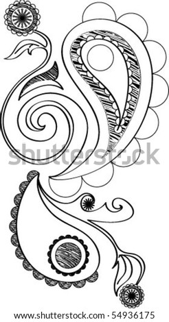 floral doodle - stock vector