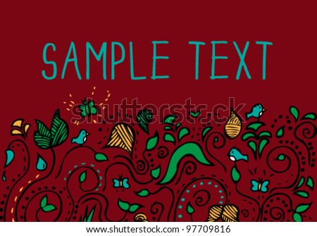 Floral doodle card background - stock vector