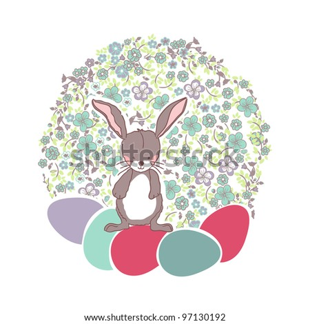 floral easter card with easter bunny