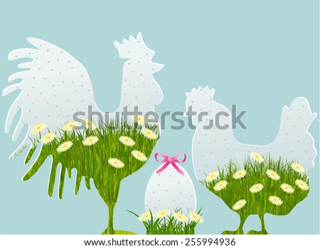 Floral Easter decorations with cock, hen and egg - stock vector