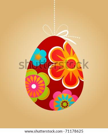 Floral Easter egg backgorund - stock vector