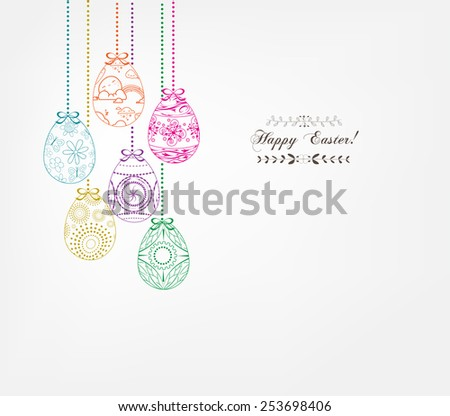 floral easter eggs - stock vector