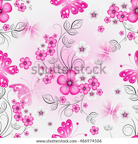 Floral effortless spring pattern with gradient cherry flowers and butterflies (vector)
