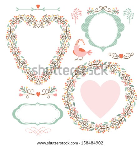 Floral elegance frames and graphic elements, holiday symbols  - stock vector