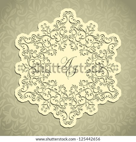 Floral elegant lace napkin on seamless background, wedding invitation etc - stock vector