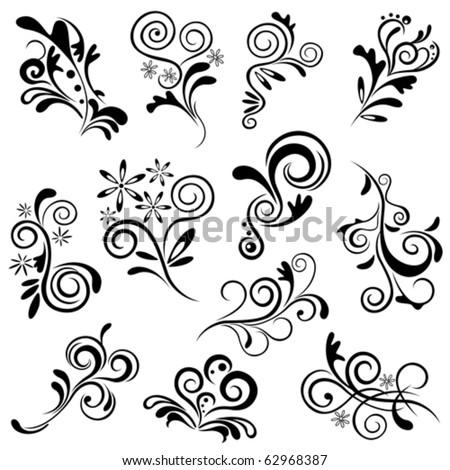 Floral element set. Illustration vector. - stock vector