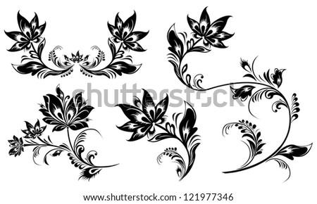 Floral elements. Set of floral elements for design. - stock vector