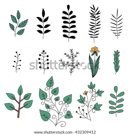 Floral elements set. Tree branches. Set of hand drawn doodle flowers. Vector illustration. - stock vector