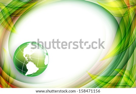 floral environmental vector frame with globe. Eps10 - stock vector