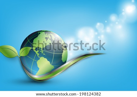floral environmental vector frame with globe. Eps10 - stock vector