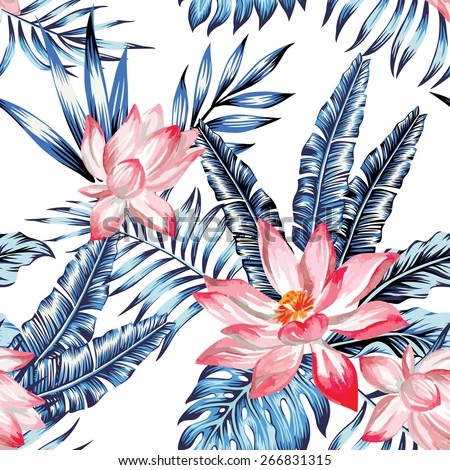 Floral Fashion Tropic Wallpaper With Leaves Of Banana Palm In A Trendy Blue Style Pink