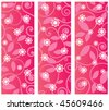 Floral flourish - Three panels with pattern Funky flower overlay - stock vector