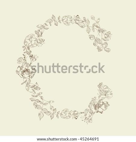 Floral font. Letter C - stock vector