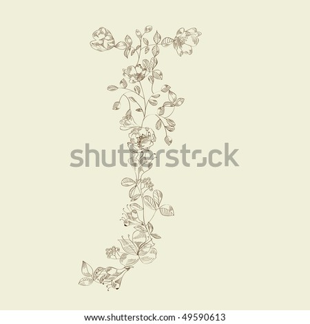 Floral font. Letter J - stock vector