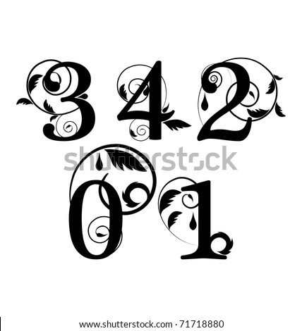 Floral font. Numbers from 0 till 4 - stock vector