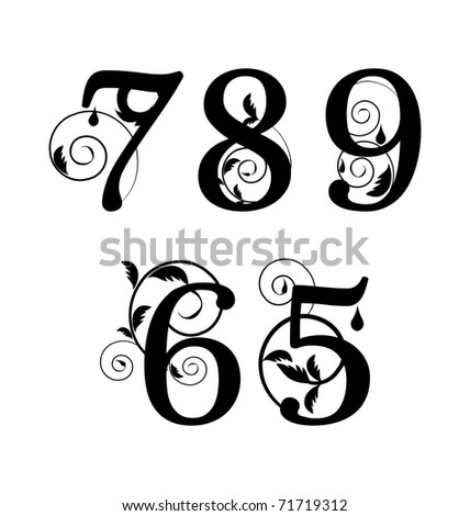Floral font. Numbers from 5till 9