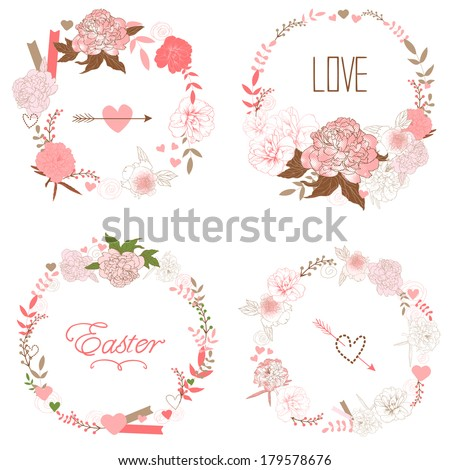 Floral Frame Collection. Set of retro styled peonies arranged at the shape of the wreath perfect for wedding invitations and birthday cards - stock vector