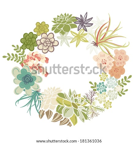 Floral Frame. Cute succulents arranged un a shape of the wreath perfect for wedding invitations and birthday cards  - stock vector