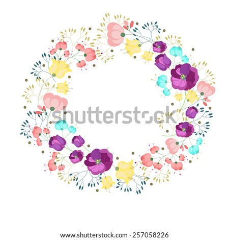 Floral frame for greeting design - stock vector