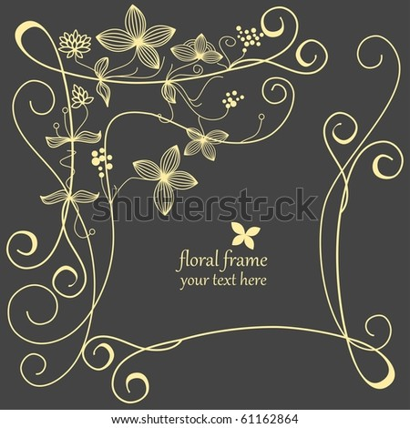 Floral frame linework - stock vector