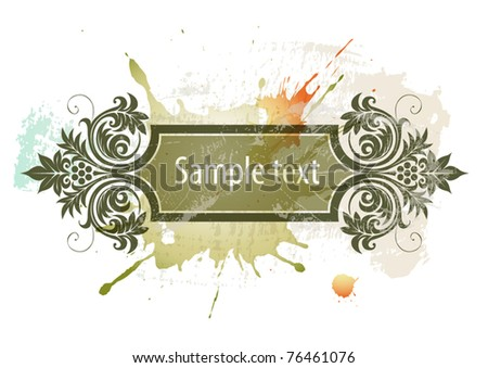 Floral frame on a watercolor grunge background - stock vector