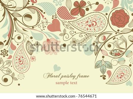 Floral frame, paisley motif - stock vector