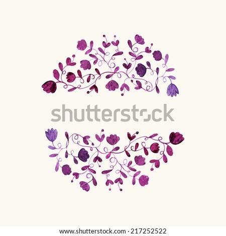 Floral frame. Watercolor floral pattern. Floral design elements. - stock vector