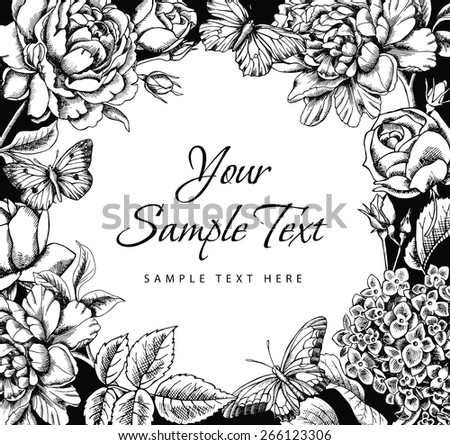 Floral frame with butterflies for your text. Vector black and white illustration.