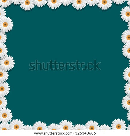 Floral frame with camomiles. Vector eps10 - stock vector
