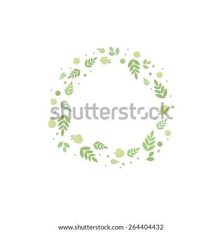 Floral frame with leaves and green apples. Vector template for design