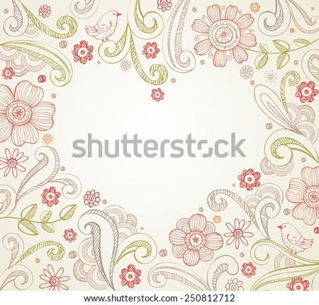 Floral frame with place for your text in heart shape. Elegant wedding card.  - stock vector