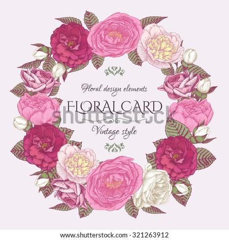 Floral Frame Roses Peonies Vintage Card Vector de stock321263912 ...