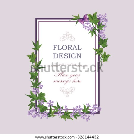 Floral frame with summer flowers. Floral bouquet with lilac wildflower. Vintage Greeting Card with flowers. Watercolor flourish border. Floral background. - stock vector