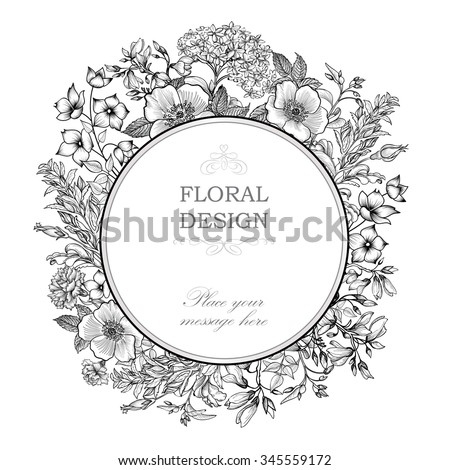 Floral frame with summer flowers. Floral bouquet with rose, narcissus, carnation, lilac and wildflower. Vintage Greeting Card with flowers. Flourish border. Floral background. - stock vector