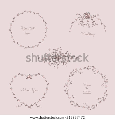 Floral frames collection. Romantic wedding set with roses - stock vector