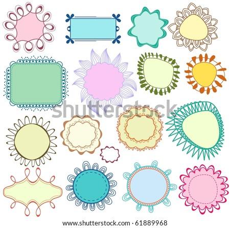 Floral frames set - stock vector