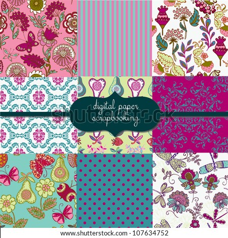 Floral Garden Digital Scrapbook Paper - stock vector