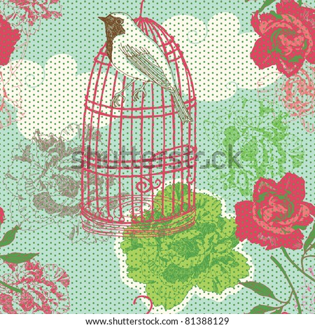 floral garden with bird on cage - stock vector