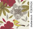 floral garden with cute bird. seamless pattern - stock vector