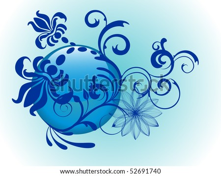 floral glass button - vector