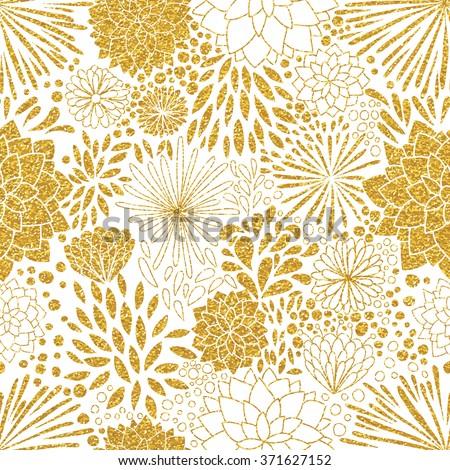 gold glittering heart confetti seamless pattern stock