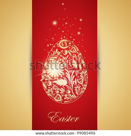 Floral golden easter egg. Vector - stock vector