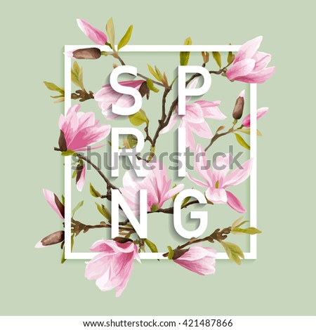 Floral Graphic Design. Magnolia Background. Fashion Print. T-shirt Design. Vector Design. Summer Design Element. Spring Flowers Blooms.  - stock vector