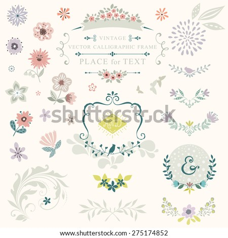 Floral graphic set with swirls, laurels, wreaths, branches, flowers, butterflies, bird and ampersands. - stock vector