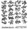 Floral graphics set. Hand drawn vector illustration. - stock vector