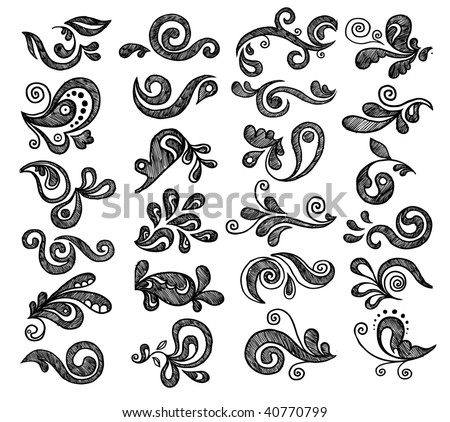 Floral graphics set. Hand drawn vector illustration.