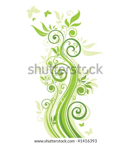 Floral green banner - stock vector