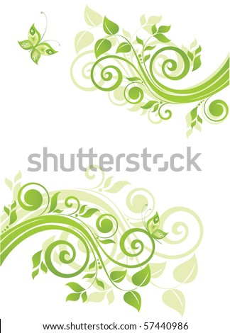 Floral green banner - stock vector